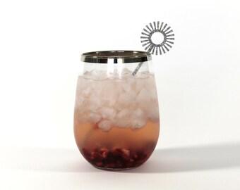 Mid Century Sunburst Drink Stirrers - Set of 6 Laser Cut Acrylic Stir Sticks, Holiday Starburst