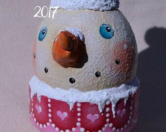 Valentine Sweet Heart Pink Snowman Primitive Whimsical Folk Art Snowcone