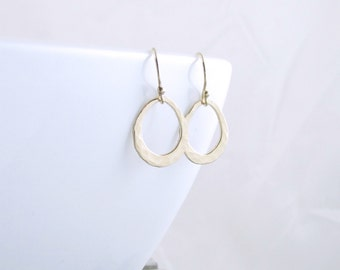 Gold Teardrop Earrings Open Circle Earrings Gold Organic Circle Earrings Unique Jewelry Gold Minimalist Jewelry Summer Outdoors Gift for Her