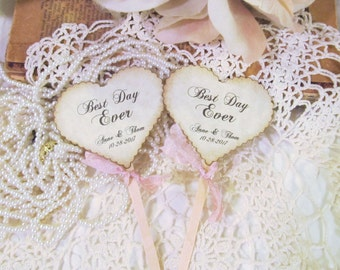Wedding Hearts Cupcake Toppers w/ribbons -  Best Day Ever - Customized Party Picks - Set of 12 - Choose Ribbons - Rustic Vintage Picks Flags
