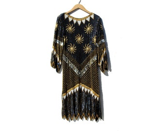 Vintage Black Silk Sequin & Beads Evening Dress