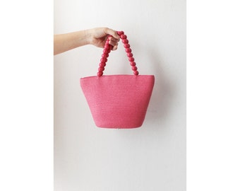 1990s Pink Summer Straw Bag