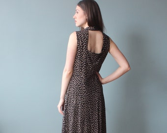 black floral maxi dress | 90s open back sleeveless dress | medium