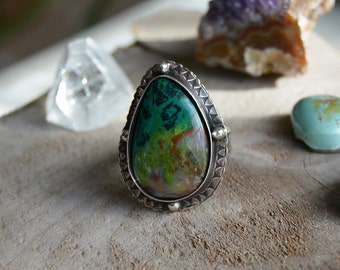 Parrot Wing Chrysocolla Ring. Southwestern Statement Ring. Stamped Sterling Silver Teardrop Stone Jewelry. Made to Order Size.