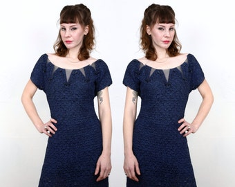 SALE Blue Knit Dress  Illusion Neck