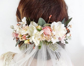 bridal hair piece, bridal headpiece, floral headpiece, floral hair comb, blush wedding, flower crown wedding, bridal hair clip, ivory flower