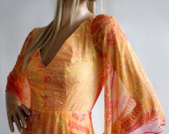 Dreamy tangerine John Bates for Jean Varon vintage 1970s medieval maxi dress