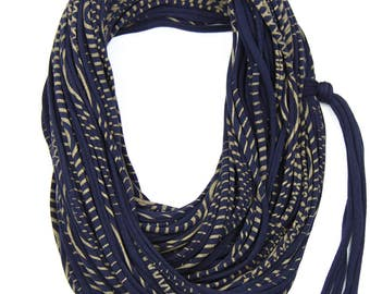 Navy & Gold Infinity Scarf, Jersey Layered Scarf, Fabric Statement Necklace, Jersey Cotton, Chunky, Trendy, Fashion Accessories, Gift Ideas