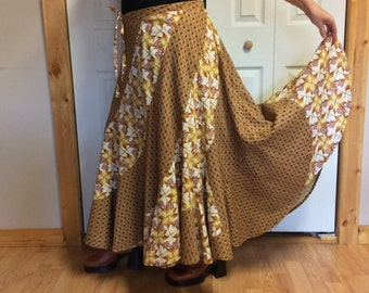 Long Sweep Maxi Plus Size Skirt with Pocket/Autumn Colors/Bohemian/Hippie/Gypsy/Folk/Festival/Mod/Earth Tone/Long Skirts for Women/Size 2X