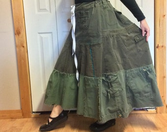 Long Denim Maxi Skirt/Plus Size Skirt/Urban Utility Skirt/Upcycled Recycled Repurposed Clothing/Brown/Green/Skirts for Women/Size XL to 2XL