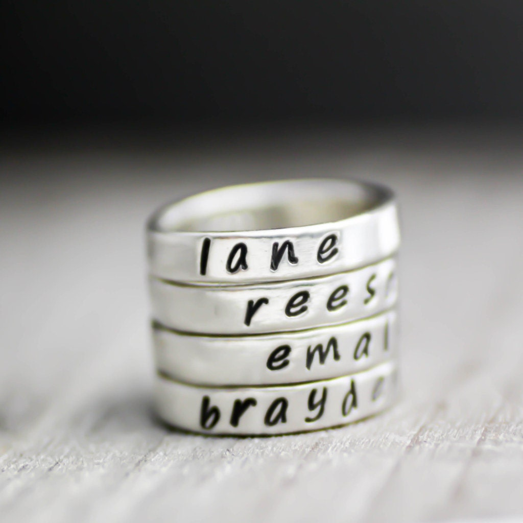 custom stack rings name rings personalized name rings. Black Bedroom Furniture Sets. Home Design Ideas