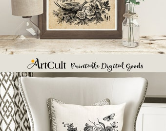 Printable Digital download ANTIQUE ENGRAVING, 2 Images to print on fabric or paper Transfer sheet for tote bags t-shirts pillows wall art