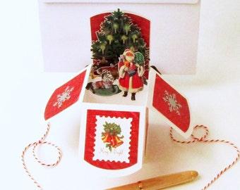 Pop Up Christmas Card In Box - Handmade Vintage Christmas Style - Victorian Christmas - Vintage Santa - Keepsake - Gift Card Holder