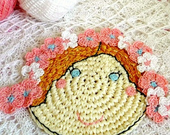 Flower Girl Coaster - Crochet Coaster - Flower Girl Applique - Flower Romantic Coaster - Mothers Day Gift - Gift for Mom - Gift for Friend