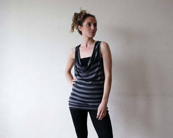 New for summer!! Scoop neck vest - Yoga clothes - dance wear - yoga top - active wear. Stripe - offwhite - black. Onesize