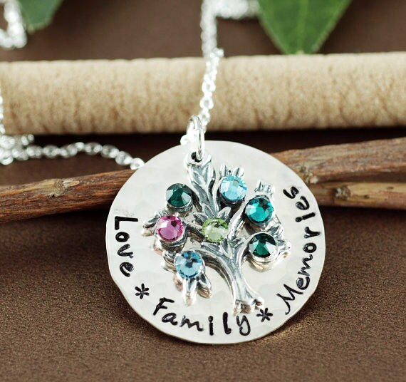 Personalized Family Tree Necklace, Love Family Memories Necklace, Hand Stamped Tree of Life Necklace, Birthstone Necklace, Gift for Mom