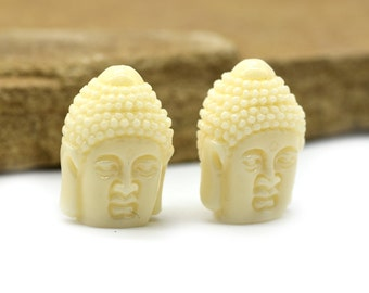 Resin Buddha  Beads, 8pcs, Cream Color,   Buddah Head,  Yoga Beads -B781