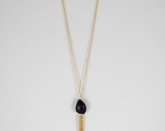 Black onyx and gold long tassel necklace