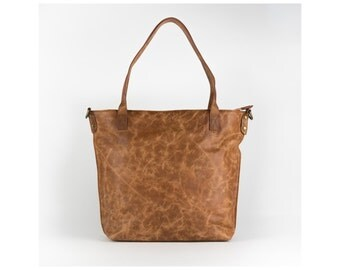 Brown leather tote bag - Nora -shoulder bag/ leather tote