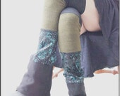 RESERVED for Stefania - Thigh High Leg Warmers - Steampunk - Clothing Accessory - Knee High - Patchwork Leggings - Burning Man - One Size
