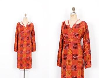 Vintage 1970s Dress / 70s Indian Cotton Block Print Dress / Red and Orange ( S M )