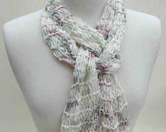 Cotton/Rayon Scarf- Hand Knit/ White/ Lavender/ Mauve/ Sea Mist