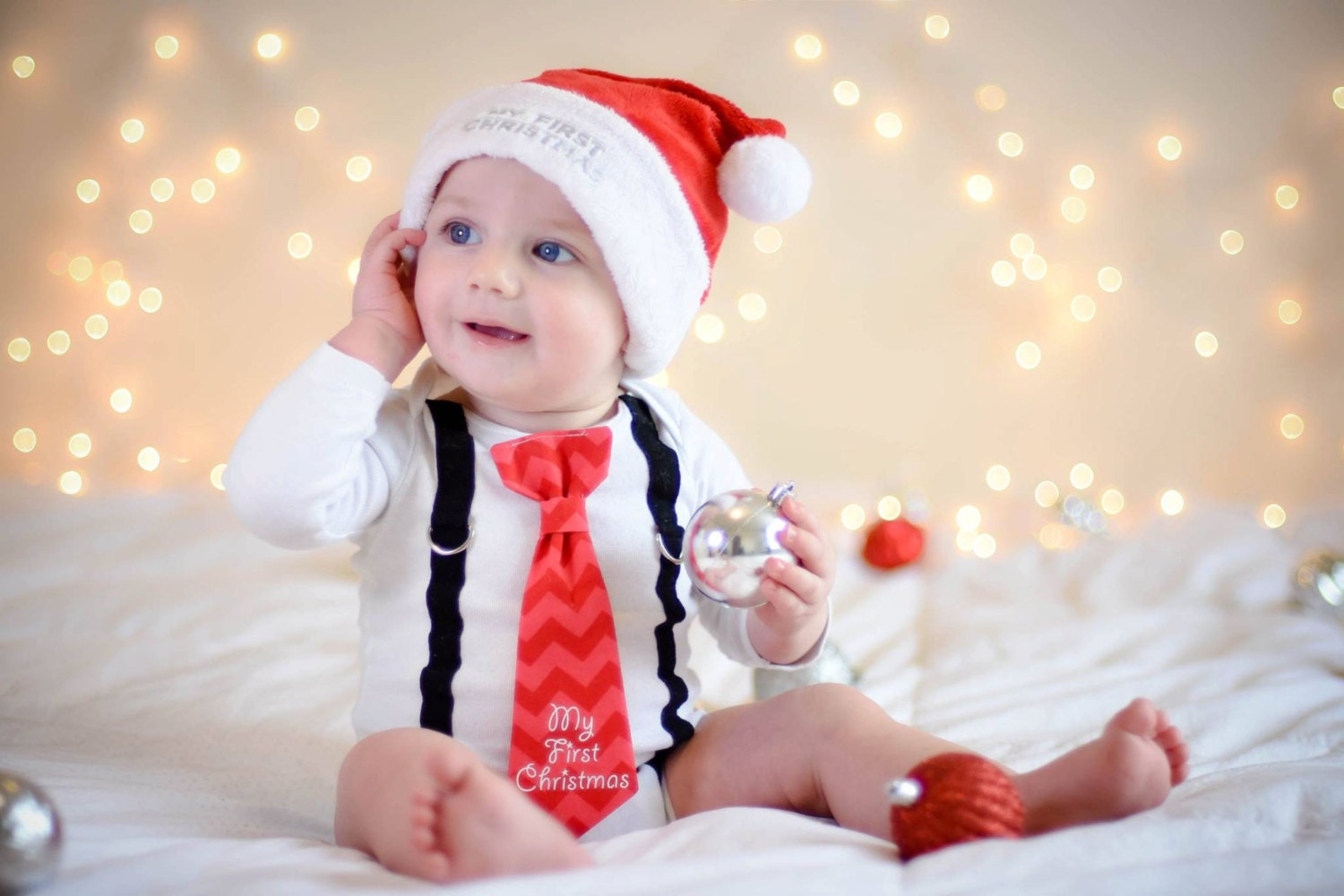 First Christmas Outfit for Baby Boy. 1st Christmas Boy. Boy