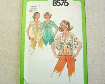 Shirred Boho Blouse - Vintage 70s Simplicity Pattern 8576 - 3/4, Angel Sleeves or Sleeveless -Size 6 & 8 -Prairie Peasant Folk Dancing UNCUT