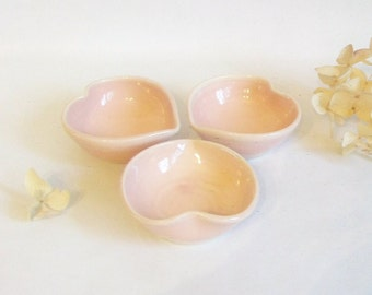 Heart Bowls - Actual Set of 3,  Handmade, Shades of Pink - 3 inch diameter - Valentine Gift -- Mothers Day Gift