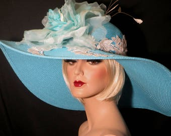 TURQUOISE & LACE Kentucky Derby Hat, Aqua And Ivory Extra Wide Brim Hat, Couture Turquoise Kentucky Derby Hat, High Tea Garden Party Hat,