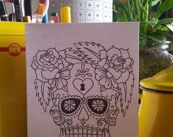 Mexican Sugar Skull and Roses Card