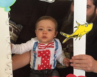 1st birthday boy outfit, Dr Seuss birthday, bow tie and suspenders, boys birthday shirt, birthday photo props