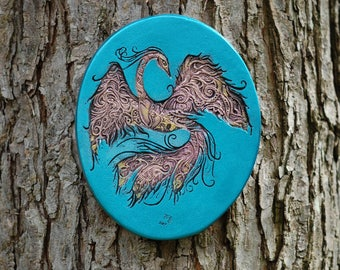 Phoenix Art, Firebird Wall Plaque, Phoenix Rising, Fantasy Art Cast Stone Phoenix Bird Wall Plaque