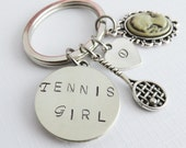 Tennis Girl initial keychain, racket keyring, hand stamped personalized gift, for her, tennis jewelry