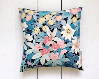Floral Vintage Japanese Kimono Silk Fabric Cushion Pillow 'Botanical Garden' (1950's)