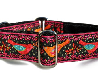 "Birds of a Feather Jacquard in Black & Pink - Martingale Dog or Buckle Dog Collar - 1.5"" Inch"