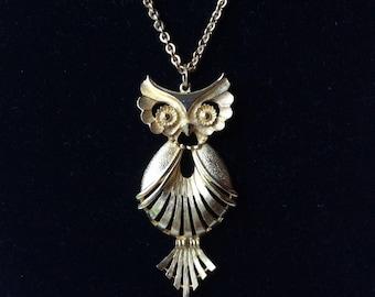 Torino Big Gold Owl Pendant Necklace