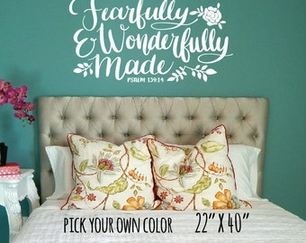 Psalm 139:14 Wall Decal / fearfully and wonderfully made, scripture decal, scripture wall decal, bible verse wall decal, baby decal,
