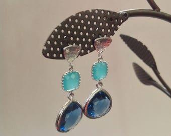 Blue Earrings, Navy blue and mint Earrings, bridesmaid blue earrings, wedding blue earrings, blue mint bridesmaid earrings, turquoise blue
