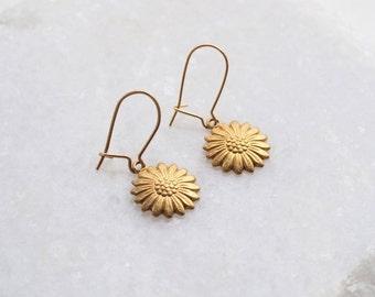 Daisy Earrings . Gold Daisy Ear Studs . Small Flower Ear Posts . Womens Sunflower Jewellery . Dangle Drop Charm Jewelry . Gifts for Women UK