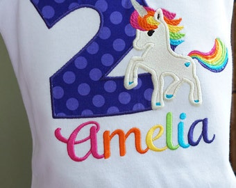 Rainbow Unicorn Birthday Toddler Tee Shirt - First, Second, Third, Fourth, Fifth Sixth Seventh - Girl - Personalized - Embroidered