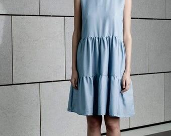Blue floors dress, summer elegant dress, knee length dress, formal party dress, loose fit dress, sleeveless, sundress, crew neck, bridesmaid