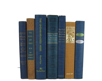 Vintage  Blue Earth-tone Decorative Books ,  vintage books , old books , vintage book bundle , photo prop , wedding decor , vintage book set