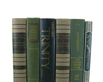 Green Vintage Books, Green Taupe Books, Wedding Decor, Home Decor, Decorative books, old books,  stack of books, Bookshelf Decor