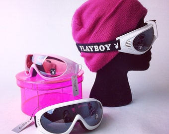 Playboy Snow Ski Bunny Goggles in White and Pastel Pink DEADSTOCK