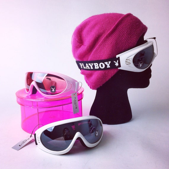 Playboy Snow Ski Bunny Goggles in White and Pastel Pink