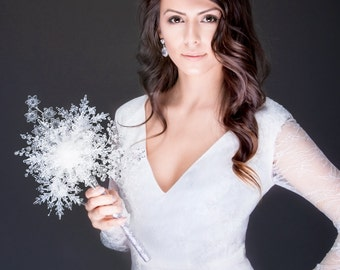 CLOSEOUT - Winter Wedding - One of a Kind Crystal Snowflake Bridal Bouquet for a Winter Wonderland Wedding - Christmas Wedding