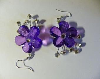 Dangle Purple Flower Earrings   61