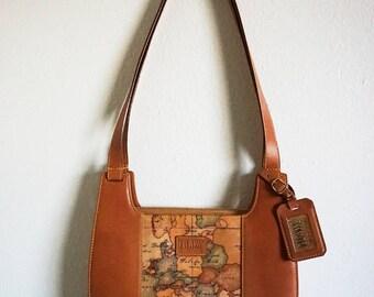 Alviero Martini 1st Classe Camel Brown Classic Leather Map Europe Africa Greenland Handbag Purse