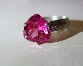 Sparkling Trillion Pink Lab Ruby In Antiqued Sterling Silver Ring, 4ct. Size 7.25.